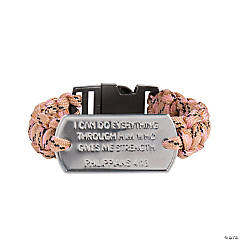 Tween Faith Pink Paracord Bracelets with Dog Tag