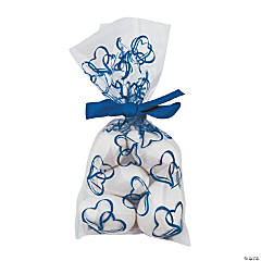 Two Hearts Blue Cellophane Bags