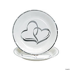 Two Hearts Paper Dessert Plates