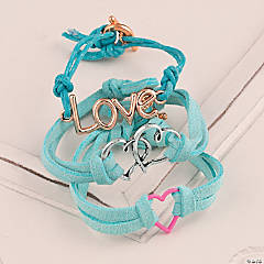 Two Hearts Teal Wrap Bracelet Idea