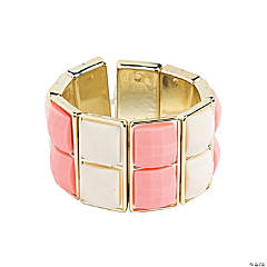 Two Square Cream & Coral Bracelet Craft Kit