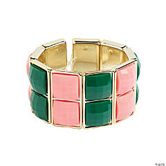 Two Square Green & Coral Bracelet Craft Kit