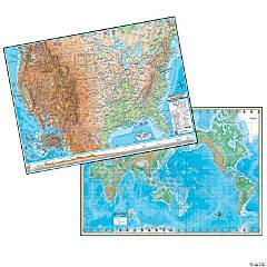 U.S./World Physical Rolled Laminated Map Set, 48