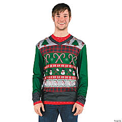 Ugly Christmas Sweater Candy Canes T-Shirt Costume for Adults