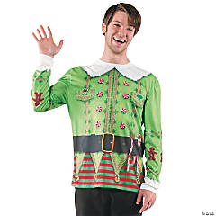 Ugly Christmas Sweater Elf T-Shirt Costume for Adults