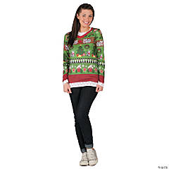 Ugly Christmas Sweater T-Shirt Costume for Women
