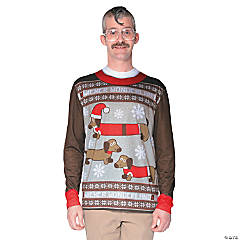 Ugly Christmas Sweater Wiener Wonderland T-Shirt Costume for Adults