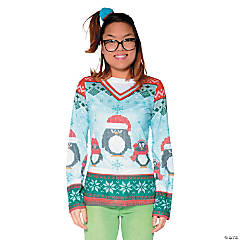 Ugly Christmas Sweater Winter Penguins T-Shirt Costume for Women