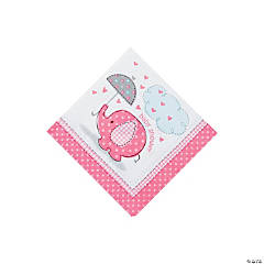 Umbrellaphants Pink Beverage Napkins