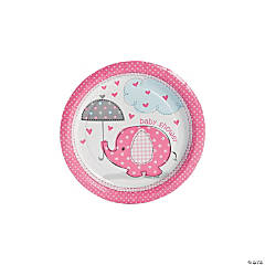 Umbrellaphants Pink Paper Dessert Plates