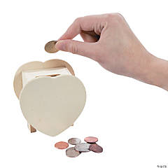Unfinished Wood Heart Coin Bank