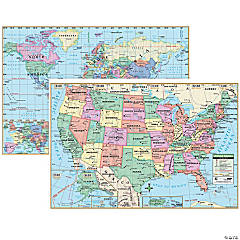 US & World Map Combo (Paper) - 2 maps per pack, Set of 3 packs