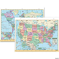 US & World Notebook Map - Set of 12 double-sided maps