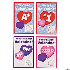Valentine Cards with Glitter Heart Tattoo