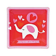 Valentine Elephant Square Dinner Plates