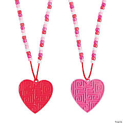 Valentine Heart Maze Beaded Puzzle Necklaces