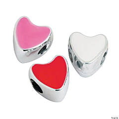 Valentine  Heart-Shaped Large Hole Beads - 11mm