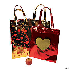 Valentine Metallic Tote Bags