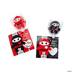 Valentine Ninja Lollipops with Cards
