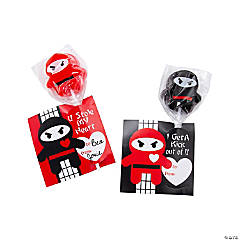 Valentine Ninja Suckers with Cards