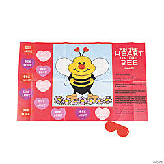 Valentine Pin the Heart on the Bee Game
