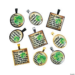 Vintage Shamrock Framed Charms - 1/2
