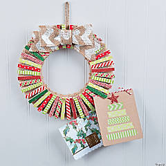 Washi Tape Clothespin Card Holder Wreath Decor Idea