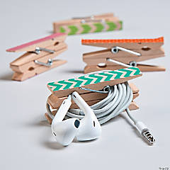 Washi Tape Clothespin Earbud Tidy Idea