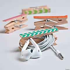Washi Tape Clothespin Earbud Tidy Idea