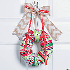 Washi Tape Mason Jar Lid Christmas Wreath Décor Idea