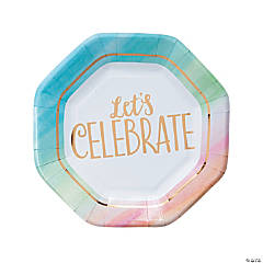 Watercolor Rainbow Paper Dinner Plates
