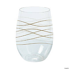 Wavy Stemless Plastic Wine Glasses