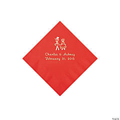 Wedding Couple Personalized Red Beverage Napkins