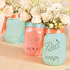 Wedding Painted Mason Jars Idea
