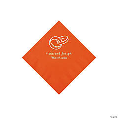 Wedding Ring Personalized Orange Beverage Napkins