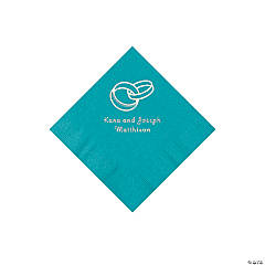Wedding Ring Personalized Teal Beverage Napkins
