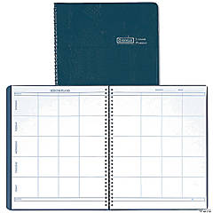 Weekly Lesson Planner, Simulated Leather Cover, Blue - Set of 3 planners