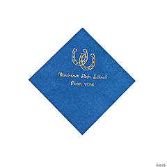 Western Blue Personalized Beverage Napkins with Gold Print