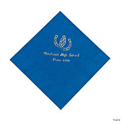 Western Blue Personalized Luncheon Napkins with Gold Print