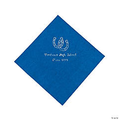 Western Blue Personalized Luncheon Napkins with Silver Print