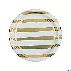 White & Gold Foil Striped Paper Dinner Plates