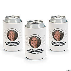 White Awareness Ribbon Custom Photo Can Coolers