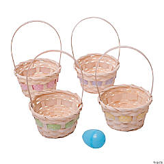 White Bamboo Easter Baskets with Ribbon