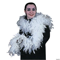 White Chandelle Boa with Silver Lurex