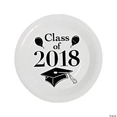 White Class of 2018 Grad Party Dinner Paper Plates