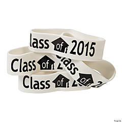 White Class of 2015 Big Band Bracelets