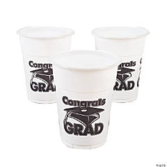 "White ""Congrats Grad"" Disposable Cups"