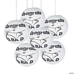 White Congrats Grad Hanging Paper Lanterns