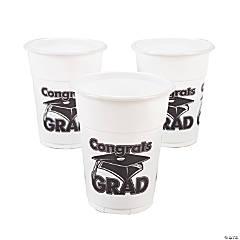 """White """"Congrats Grad"""" Plastic Cups"""