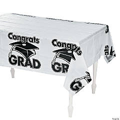 White Congrats Grad Plastic Tablecloth